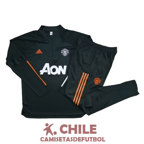 2020-2021 cremallera manchester united verde oscuro chandal