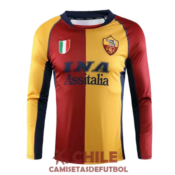camiseta retro rojo amarillo azul as roma manga larga champions league 2001-2002
